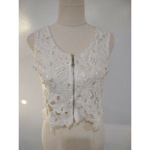 Unbranded Lace Crop Top Size OS Ivory